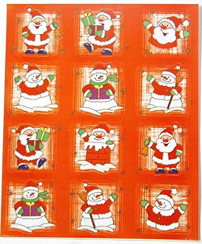 Fenstersticker Set 12-tlg. - Weihnachten / Advent - Nikolaus Weihnachtsmann Schneemann Schneemänner - selbsthaftend - einseitig mit Goldglimmer - Fensterbilder Aufkleber Tattoo für Glas Fenster Spiegel und andere glatten Oberflächen - Fensterdekoration - Weihnachtsdekoration - Adventsdeko - Fensterbild - Folie - Fensterfolie - zum Verzieren und Schmücken