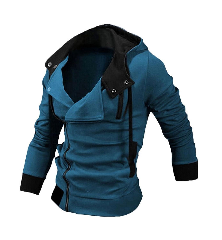 Womdee Herren Mode Schräg Reißverschluss Kapuze Pullover Lässige Freizeit Top Mantel Dünne Schlank Jacke mit Womdee Accessorie kaufen