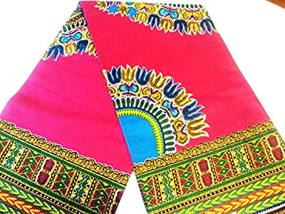2 Yards Bright Pink African Fabric Dashiki Cotton Prints.