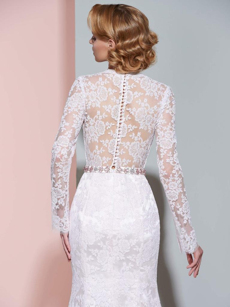 CLOCOLOR Women's Sheer Long Sleeve Deep V Neck Mermaid Vintage Lace Wedding Dress 4