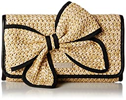 kate spade new york Belle Place Straw Viv Clutch, Natural/Black, One Size