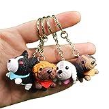 CRIZAN Cute Animal Keychain Key Ring Handbag Bag Charm Car Cell Phone Decor Ornament (4 Dogs Set) (Color: 4 Dogs Set, Tamaño: Free size)