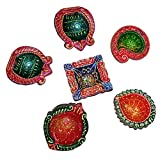 Set Of Colorful Decorative Diya With Different Shapes