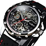 Luxury Sport Watches For Men Skeleton Wrist Watches Automatic Winding Mechanical Movement (Black Dial) thumbnail