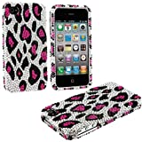 "myLife (TM) Pink + Black Leopard Spots Print - Rhinestone Series (2 Piece Snap On) Hardshell Plates Case for the iPhone 4/4S (4G) 4th Generation Touch Phone (Clip Fitted Front and Back Solid Cover Case + Rubberized Tough Armor Skin + Lifetime Warranty + Sealed Inside myLife Authorized Packaging) ""ADDITIONAL DETAILS: This two piece clip together case has a rhinestone encrusted gloss surface an at Amazon.com"