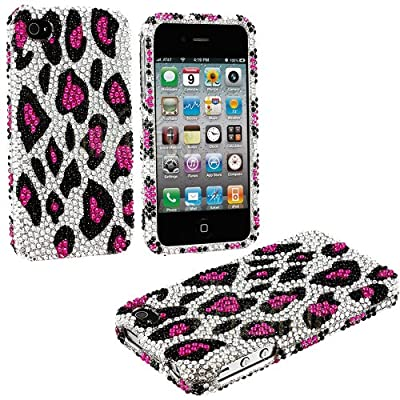 myLife (TM) Pink + Black Leopard Spots Print - Rhinestone Series (2 Piece Snap On) Hardshell Plates Case for the iPhone 4/4S (4G) 4th Generation Touch Phone (Clip Fitted Front and Back Solid Cover Case + Rubberized Tough Armor Skin)
