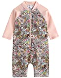 [Vaenait Baby] 0-24ヶ月紫外線カット ラッシュガードベービー子供女の子長袖ワンピース水着 Baby Floral S