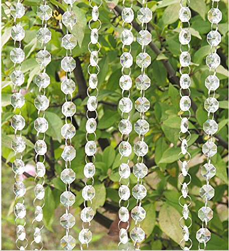 Worldoor® 33 Feet Iridescent Crystal Acrylic Gems Bead Strands Wedding Table Centerpieces Wishing Tree Garland/ octagonal acrylic beaded clear crystal garland strands for wedding decoration chandelier (Wedding Gems For Centerpieces compare prices)