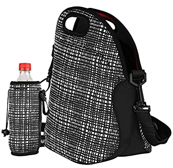 """LUNCH BAG by CARREZE, This Neoprene Lunch Tote, Is Rated for High Quality In, Insulated Lunch Bags, Lunch Tote Bag. The Lunch Box """"Package Includes"""" a Matching, Water Bottle Tote Bag. 2"""