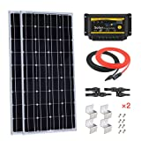 Giosolar 200W 12V Solar Panel Starter Kit: 2pcs 100W Monocrystalline Solar Panel with 20A LED Charge Controller for RV Boat Off-Grid