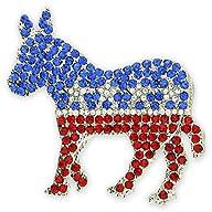 Rhinestone Democrat Donkey Brooch Lap…