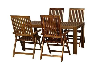 FloraSun® Gartenmöbel Set Strand, 4 Klappstuhle, 1 Gartentisch, 160 x 90 cm, H 75 cm, Akazien-Holz-Gestell, geölt, mit Stahlbeschlägen