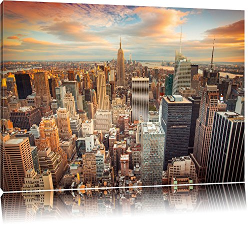skyline von new york format 120x80 auf leinwand xxl riesige bilder fertig gerahmt mit. Black Bedroom Furniture Sets. Home Design Ideas