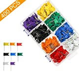 Colored Flag Travel Map Push Pins, Coideal 400 Pack Multicolored Decorative Map Tacks Plastic Head with Steel Point for Cork Bulletin Board, Picture Hanging at Home Office School (8 Assorted Colors) (Color: Flag Push Pins - 8 Colors 400pcs, Tamaño: 35 mm)