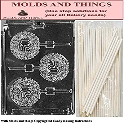 50TH LOLLY numbers and letters Chocolate candy mold With © Candy Making Instruction - set of 2 molds with 25 sticks