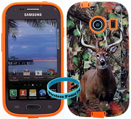 [ Samsung Galaxy Ace Style / SM-G310 / S765C ] for Net 10 Straight Talk Tracfone - Deer Hunting 1 Mossy Camo Snap on over Orange silicone,Wireless Fones TM Hybrid Tuff Super Compact Armor Case (Camo Cases For Samsung Galaxy Ace compare prices)