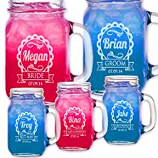 buy 1 Cute Personalized Wedding Mason Jar Bridesmaid Gift Groomsmen Gifts Drinking Mugs With Handle Engraved Custom Etched With Name And Date For Wedding, Engagement Anniversary Bridal Party Gift Or A Favor Idea For Groomsmen Bridesmaids Gifts Etched Laser Gi