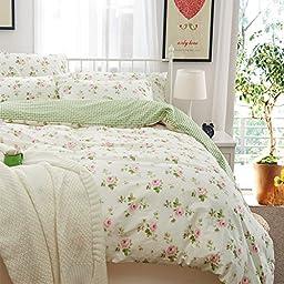 Brandream Girls Pink Floral Bedding Set Kids Bedding Set Duvet Cover Full Size