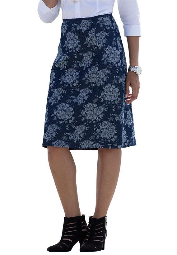 Jessica London Women's Plus Size Jacquard Denim Skirt