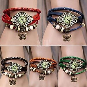 Ubesta Women Leather Wrist Watch Bracelet Retro Butterfly Pendant Weave Wrap Quartz-Sapphire from Ubesta
