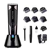 Beautural Professional Cordless Hair Clippers, Heavy Duty Rechargeable Hair Trimmer and Hair Cutting Kit with Charging Base, 6 Guide Combs, and Comb (Color: Black)
