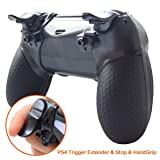 Pandaren PS4 Trigger Extenders,PS4 Trigger Stops, Silicone Attached Hand Grip Armor Case for PS4 Controller Playstation 4 /PS4 Slim/PS4 Pro Shell Protector(Black) (Color: Black-2, Tamaño: PS4)