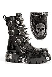 New Rock M727-s4 Mens All Leather Gothic Biker Boots