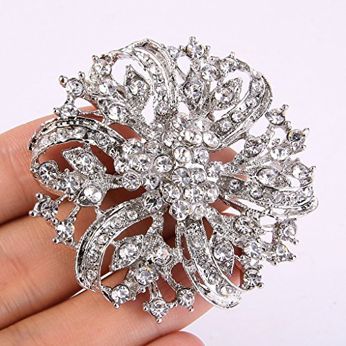 EVER FAITH® Vintage Inspired Bridal Silver-Tone Flower Brooch Corsage Austrian Crystal 1