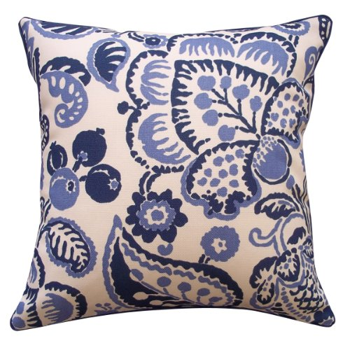 Jiti Blueberry Outdoor Polyester Square Throw Pillow, 20-Inch, Blue