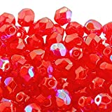 6mm Czech Faceted Round Glass Bead Light Siam AB 50pk