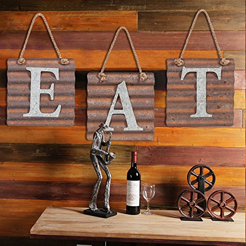 Xing Cheng Wall Metal Plaque Sign Eat Letter Sign Wavy Metal Plate for Kitchen 1