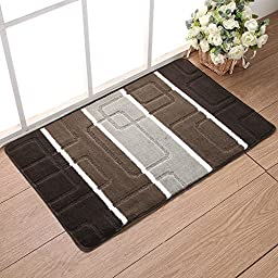 Samloo Durable Non Slip Polypropylene Jacquard Doormat Entrance Rug Bedroom Bathroom Kitchen Toilet Water Absorption Floor Mat (18 inch by 30 inch, Maze Gray)