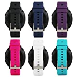 For Samsung Gear Sport Soft Silicone Sport Quick 20mm Smart Watch Bands Quick Release Watch Strap Wristband for Samsung Gear S2 Classic SM-R732 & SM-R735/ Huawei Watch 2 Watch/Garmin Vivoactive 3 (Color: Black Blue White Cyan Red Purple, Tamaño: Free Size 5.11-8.46 Inches wrist)