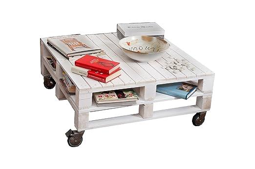 Castagnetti 1.928 mesa doble de palets con ruedas, Spruce Wood, blanca