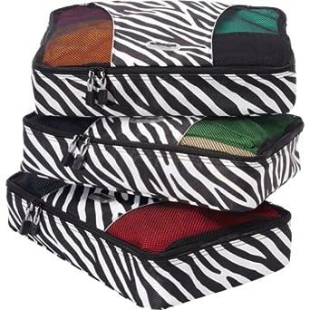 eBags Medium Packing Cubes - 3pc Set (Zebra)