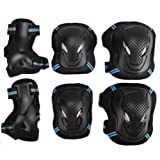 Kids Adult 6PCS Sports Protective Gear Set Adjustable Reflective Cycling Roller Skating Knee Elbow Wrist Pads Safety Support Guards Pad Set Equipment for Skateboard, BMX Bike, Inline Skating, Scooter (Color: Black&Blue, Tamaño: M for Youth/Teens)
