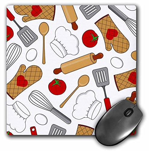 3dRose Cute Chef Or Cook Love Pattern In White Mouse Pad (mp_172121_1)