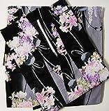 着物問屋オリジナル 二部式浴衣 No.795 古典柄 大正浪漫 [黒地に花籠]セパレート浴衣/女物浴衣/女性浴衣
