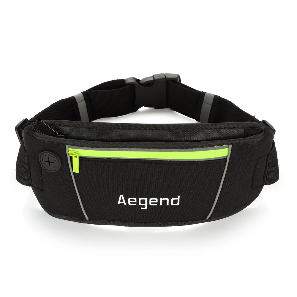 Waist Pack, Aegend™ Running Belt-Lightweight, Washable, Water-resistant, Constructed with Waterproof Zippers and Material, Waterproof Earphone Jack, Grey Reflective Stripes For Running Safely At Night, Sufficient Space and Two Pockets For Different-Sized and Protect Your phone from Scratch, Adjustable Elastic Strap Can Fit Comfortably Around Waist, Compatibly Used as Travel Money Belt, Fanny Pack, No Bounce Runners Belt, Travel Pouch(Black)