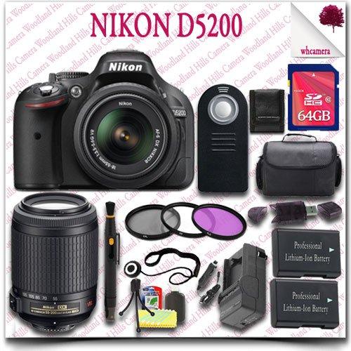 Nikon D5200 Digital Slr Camera With 18-55Mm Af-S Dx Vr (Black) + Nikon 55-200Mm Af-S Dx Vr Lens + 64Gb Sdhc Class 10 Card + 3Pc Filter Kit + Slr Gadget Bag + Wireless Remote 19Pc Nikon Saver Bundle