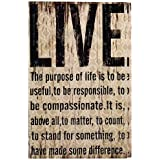 """Adeco[SP0107] Decorative, Distressed-Look """"Live"""" Wall Hanging Sign Plaque Black, Beige Home Decor"""