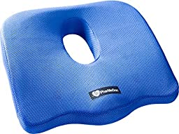 PharMeDoc Coccyx Seat Cushion -Sciatica Pillow for Back Pain - #1 Memory Foam Pillow for Sciatica Relief - New & Improved 2016 Design - Car Seat Cushion / Wedge - Office, Travel, Wheelchair & more