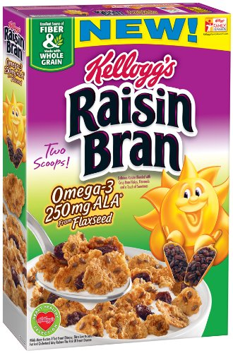 Kellogg's Cereal, Raisin Bran Omega-3 with Flaxseed, 14.3 Ounce (Pack of 14)