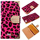 Bayke Brand / New iPhone 5S Luxury Leopard Print PU Leather Wallet Type Magnet Design Glitter Bling Crystal Rhinestone Flip Case Cover with Credit Card Holder Slots (Hot Pink)