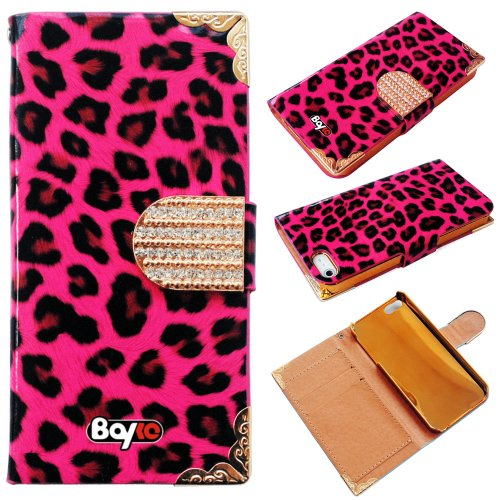 Buy  Bayke Brand / iPhone 5 Luxury Leopard Print PU Leather Wallet Type Magnet Design Glitter Bling Crystal Rhinestone Flip Case Cover with Credit Card Holder Slots (Hot Pink)
