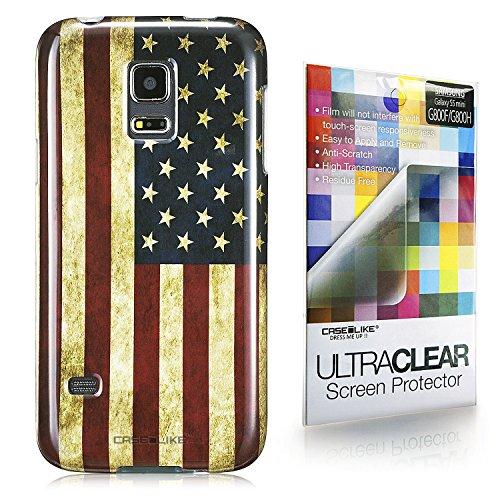 CaseiLike ® USA American Flag retrò Vintage, Snap-on duro indietro cover per Samsung - Galaxy S5 mini G800F G800H con Screen Protector