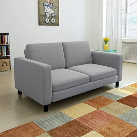 vidaXL Sofa 2-Sitzer Hellgrau
