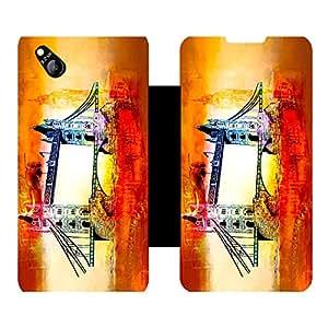 Skintice Designer Flip Cover with Vinyl wrap-around for Micromax Canvas Bolt D303 , Design - London