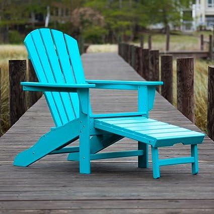 CASA BRUNO South Beach II Ultimate Adirondack chaise avec repose-pieds extractibles, polyéthylène PEHD aruba - résistance inconditionnelle aux intempéries