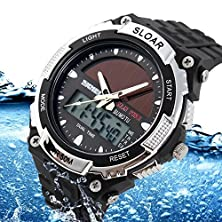 buy Amyove Solar Power Sport Mens Dual Time Quartz Analog Digital Water Resistant Watches Black
